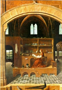 "Dr. Dufourmantelle projected Antonello da Messina's ""Saint Jerome in His Study"" in her 2012 EGS seminar."""